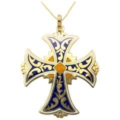 Estate Vintage 18 Karat Yellow Gold Celtic Style Blue and Gold Enameled Cross