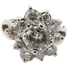 Estate Vintage Antique 14 Karat White Gold 2 Carat Round Diamond Cocktail Ring