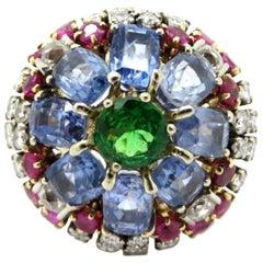 Estate Vintage Antique 14K Yellow & White Gold Floral Cluster Gemstone Ring