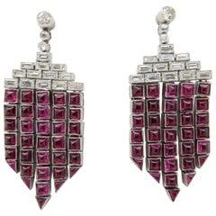 Estate Vintage Antique Art Deco Ruby and Diamond Platinum Chandelier Earrings