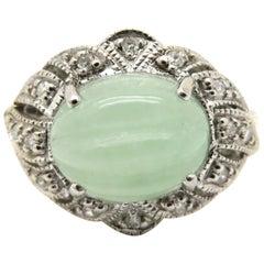 Estate Vintage Antique Oval Jade and Round Diamond Ring 14 Karat White Gold