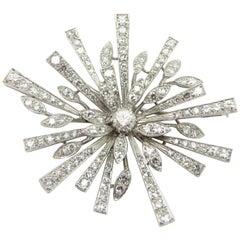 Estate Vintage Antique Platinum and 18 Karat Gold Snowflake Starburst Pin Brooch