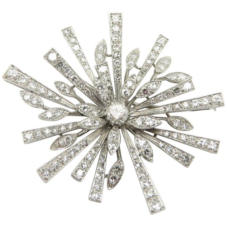 8333ef6999de7 Estate Vintage Antique Platinum and 18 Karat Gold Snowflake Starburst Pin  Brooch