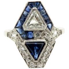Estate Vintage Antique Platinum Art Deco Sapphire and Diamond Trillion Ring