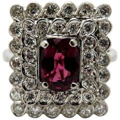 Estate Vintage Antique Platinum Ruby and Round Diamond Square Halo Ring
