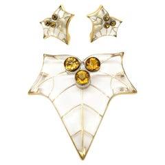 Estate Vintage Antique Rock Crystal Quartz Citrine Earrings and Pendant Set 14K