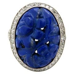 Estate Vintage Art Deco Platinum Lapis Lazuli Diamond Halo Ring