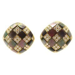 Estate Vintage Black Mother of Pearl and Diamond Inlay Earrings