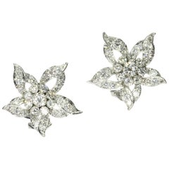 Estate Vintage Diamond Loaded '3.50 Carat' Ear Clips