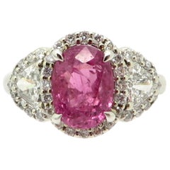 Estate Vintage GIA Certified 14 Karat White Gold Pink Sapphire and Diamond Ring