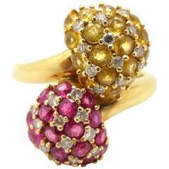 Estate Vintage Pave Yellow Sapphire and Ruby Bypass 18 Karat Yellow Gold Ring