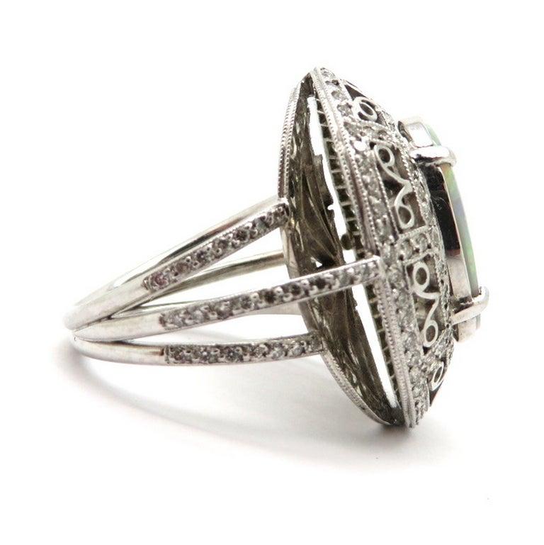 Women's Estate Vintage Platinum 2.03 Black Opal Diamond Halo Ring For Sale