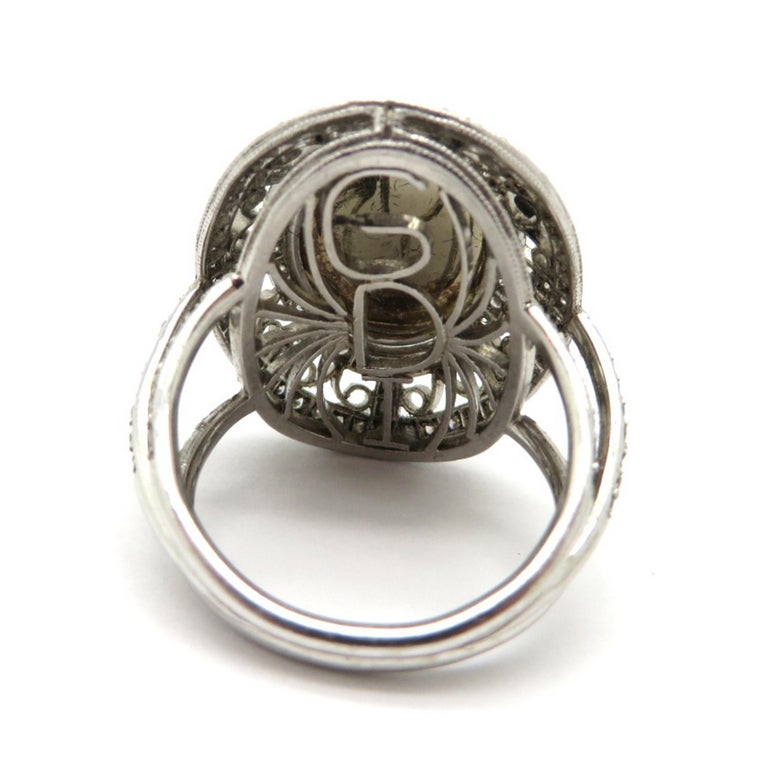 Estate Vintage Platinum 2.03 Black Opal Diamond Halo Ring For Sale 1