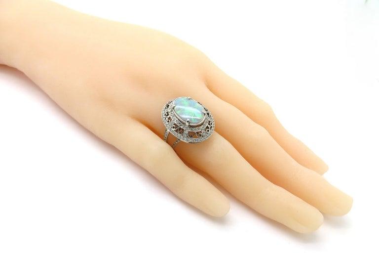 Estate Vintage Platinum 2.03 Black Opal Diamond Halo Ring For Sale 2
