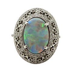 Estate Vintage Platinum 2.03 Black Opal Diamond Halo Ring
