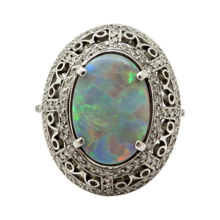 Estate Vintage Platinum 2.03 Black Opal Diamond Halo Ring For Sale