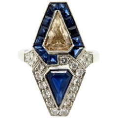 Estate Vintage Platinum Art Deco Diamond and Sapphire Ring