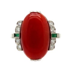 Estate Vintage Platinum Coral, Diamond and Emerald Art Deco Ring