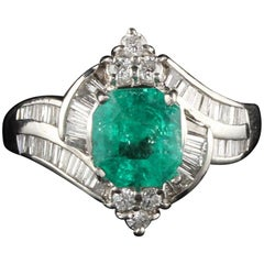 Estate Vintage Platinum Diamond and Colombian Emerald Ring