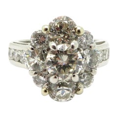Estate Vintage Platinum Flower Design Diamond Engagement Ring