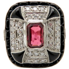 Estate Vintage Platinum Ruby and Diamond Onyx Ring