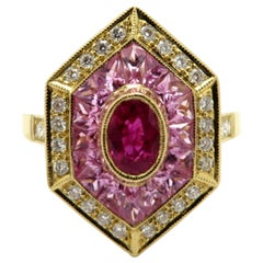 Estate Vintage Ruby, Pink Sapphire and Diamond 18 Karat Yellow Gold Shield Ring