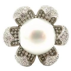 Estate Vintage White Pearl 18 Karat White Gold Pave Diamond Flower Fashion Ring