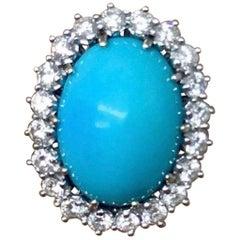 Estate VS Diamond Halo Turquoise Cocktail Ring
