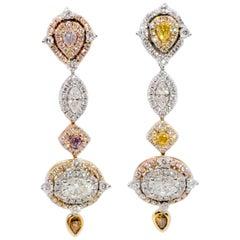 Estate White and Fancy Multi-Color Diamond Dangle Earrings in 18 Karat Gold