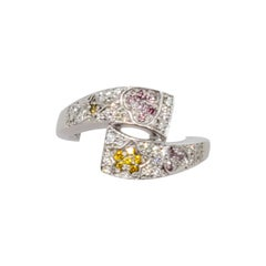 Estate White and Natural Fancy Color Diamond Fashion Ring