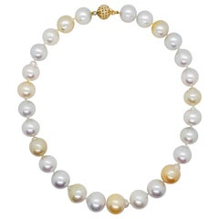 Estate White and Yellow South Sea Pearl Necklace with Diamond Clasp