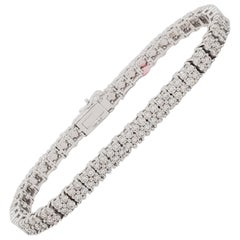 Estate White Diamond 2 Row Bracelet in 14k White Gold