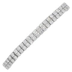 Estate White Diamond 2 Row Tennis Bracelet in 14k White Gold