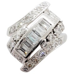 Estate White Diamond and Platinum Ring
