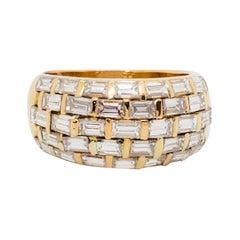 Estate White Diamond Baguette Band Ring in 18k Yellow Gold
