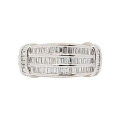 Estate White Diamond Baguette Ring in 18k White Gold