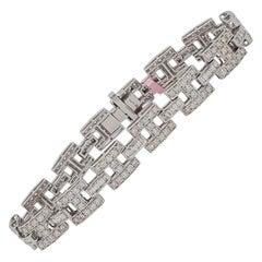 Estate White Diamond Bracelet in 14k White Gold