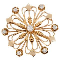 Estate White Diamond Brooch in 14k Yellow Gold