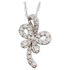 Estate White Diamond Butterfly Pendant Necklace in 18k White Gold