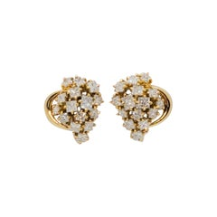 Estate White Diamond Cluster Earrings in 18k Yellow Gold