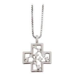 Estate White Diamond Cross Pendant Necklace in 18k White Gold