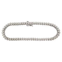 Estate White Diamond Design Bracelet in 14k White Gold