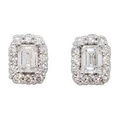 Estate White Diamond Emerald Cut Studs in 14k White Gold