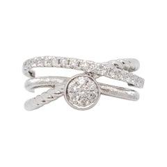 Estate White Diamond Fashion Ring in 14k White Gold