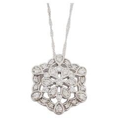 Estate White Diamond Floral Pendant Necklace in 18k White Gold