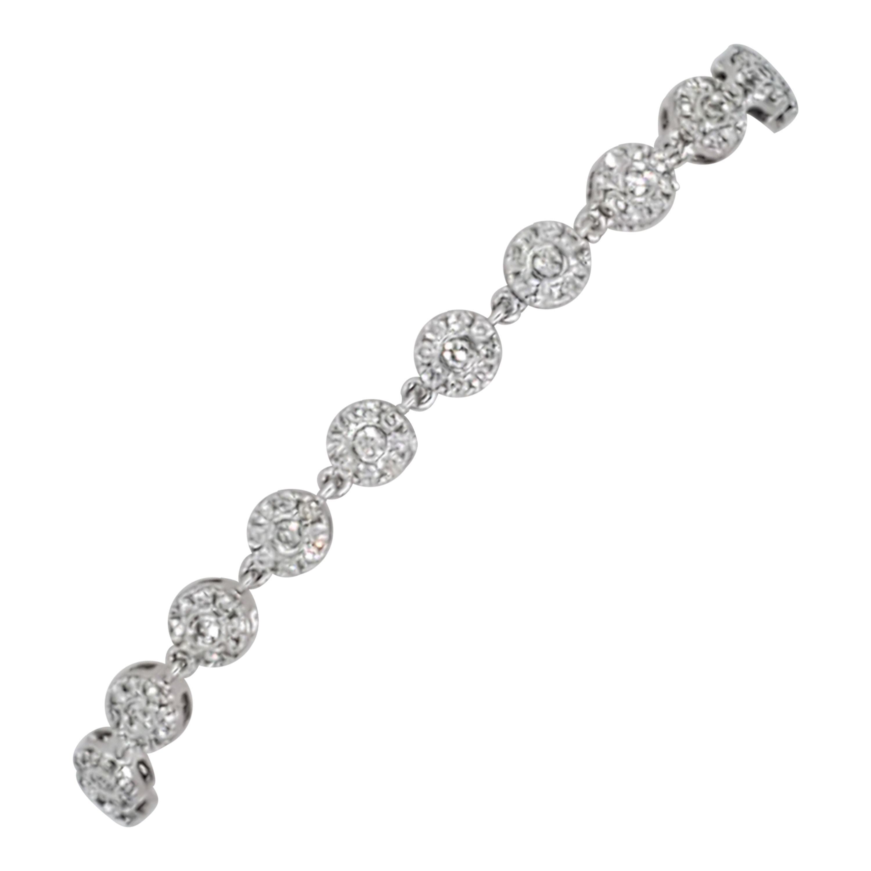 Estate White Diamond Flower Cluster Bracelet in 14k White Gold