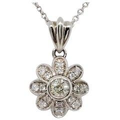 Estate White Diamond Flower Pendant Necklace in 14k White Gold