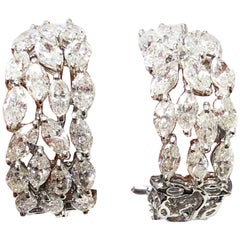 Estate White Diamond Marquis Hoop Earrings in 18 Karat White Gold