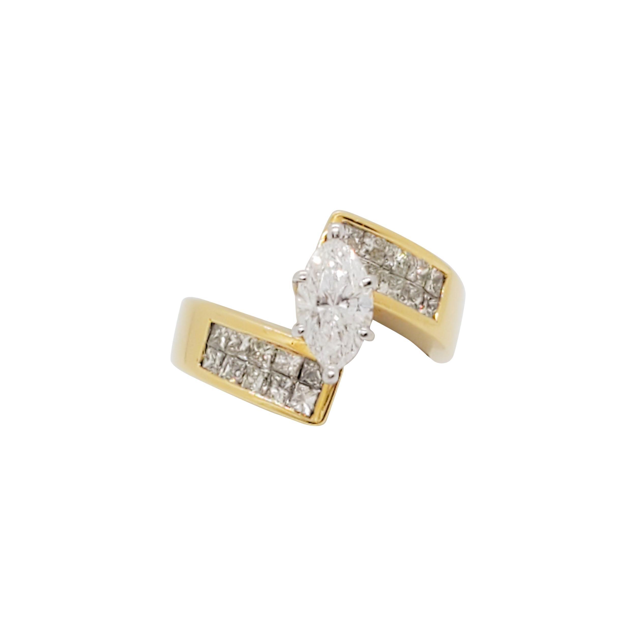 Estate White Diamond Marquise Fashion Ring in 18k Yellow Gold