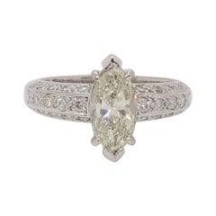 Estate White Diamond Marquise Ring in 18k White Gold